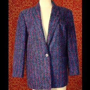 W.L.B.W. VINTAGE purple tweed blazer jacket 12